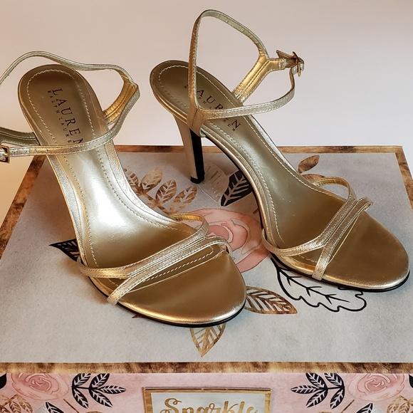Gold Metallic Strappy Heels   Poshmark